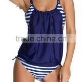EY0039A Vertical Stripe Print Straps Short Bodysuit for Swimming Wear Sexy Beach Clothes