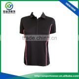 OEM 100% Combed Cotton Pique Black Color Women Polo T shirt with Embroidery Logo
