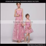 2015 new design floral Chiffon mother and daughter clothing, mother and daughter dress design