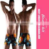 Men Plus Size Swimwear Print Swimming Trunks Sexy Men Swim Bathing Swimsuit Polyester Beachwear Briefs