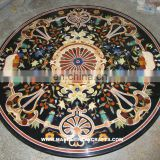 Black Marble Inlaid Coffee Table Top, Stone Inlay Table Tops