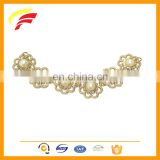 flower shape zinc alloy decorative chain with pearl for boots F1038