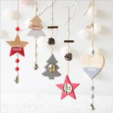 New Year Wood craft Christmas Ornaments Pendant Hanging Gifts star heart Xmas Tree Decor Home party christmas decor