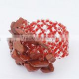 Red Stone Chip stone Stretch Seed Glass beads Ring