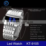 Men Luxury Stainless Steel Band Mens Blue LED Digital Sport Quartz Wrist Watch