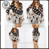 2015 Spring New Arrival Plus Size S-XXL Sexy Black V-neck Floral Print Loose Romper Playsuit Jumpsuit With Long Flare Sleeves