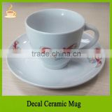 Cearmic coffee mug with saucer tea set with single pattern, OEM of printing logo or pattern welcomed