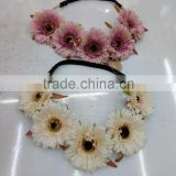 HL012 Fashion women Bohemian Beach Daisy Flower Hairband Flower Head Crown Band for girls