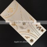 hot new magic gold silver tattoo foil metallic tattoo fashion flash color jewelry body tattoo temporary tatoo sticker