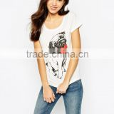 Cotton Woman Print Lovely Animal Dog T Shirt Slim Fit Printing T-Shirt