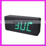 Multi-function voice control digital led wooden clock