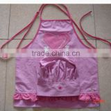 children kitchen apron&painting apron with customized logo cotton fabric made for promotion sales and kitchen,pink