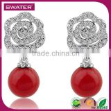 Best Selling Items Fashion Flower Red Bead Artificial Pearl Earrings