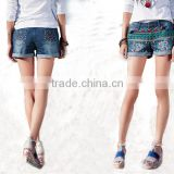 Funky embroidered shorts jeans for women sex OEM service type summer denim half pants jeans girls