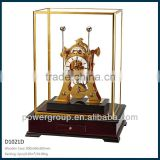 New model table clock with yellow brass metal part and Glass cover Wooden case CE/FCC standrad D1021D