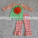 2016 certified organic cotton fabric white orange chevron pant pumpkin halloween boutique girl outfit