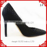 OP11 embroidery designs for sexy ladies pointy toe python leather upper high heel party wear dress shoes