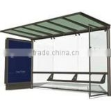 Metal Bus Stop Shelter in Good Design with Waiting Chair and Light Box for Outdoor Construction