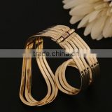 Yellow Gold Plated Statement Punk Fashion Metal Opening Cuff Bangle Bracelet