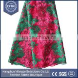 2016 best sale fushia and green fancy net fabric lace in bangkok high quality multi color embroidery african tulle lace fabric