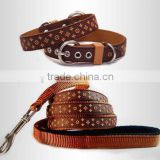 Rubber & Nylon Leather High Quality Black Brown White Dog Collar, waterproof dog collar and leash