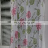 Top hotel quality living room fireproof printed voile sheer curtain with valance
