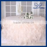 CL010D New Hot sale elegant organza round ruffled curly willow frilly fancy wedding blush pink table cloths