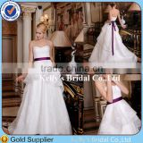 Global Hot Sale Layered Lace Bridal Dress Strapless White Ball Gown Wedding Dress With Pink Belt