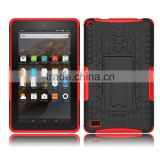 case for Amazon kindle Fire 7 with square kickstand, pc silicone combo cover for Amazon Fire
