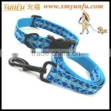 Pet accessories Blue textile printing dog collar leash