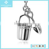 Charm Jewelry Beach Pail & Shovel Charm in Sterling Silver