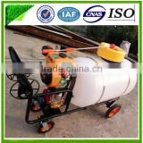 Shandong China 100L to 300L Agricultural Machine Trolley Gasoline Sprayer with pressure water pipes