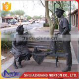 park decoration casting bronze bench with man and woman statue NTBH-S809X