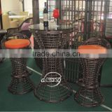 factory price PE rattan outdoor furniture patio garden club bar furniture table and bar stool