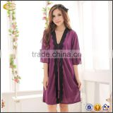 Women's Noble Purple Silk long Skirt Robe nightgown Set sexy Babydoll nude Nightwear nightdress