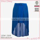 Women plus size clothing factory ladies new model charming blue long skirt plain dyed summer sexy maxi chiffon skirt
