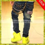 2015 latest cool children boys jeans pants with rivets, kids jeans pants, high quality children boys jeans