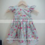 Wholesale Summer Baby Girl Clothes Lace Vintage Flutter Sleeve Casual Birthday Party Dress