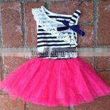 kids girls evening dresses NAVY STRIPE & TULLE SPRING TWIRL DRESS girls tulle princess dress