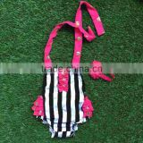 2016 new baby girls kids infant toddler kids bubble romper hot pink ruffle black stripe bubble with headband