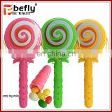 Chinese jelly bean candy with toy plastic lighting rattle drum