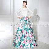 Custom Made Two Piece Prom Dress Floral Prom Dress Long Sleeve Prom Dresses LX379