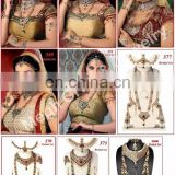 INDIAN BRIDAL DULHAN SET-GOLD PLATED RHINESTONE JEWELRY-INDIAN IMITATION JEWELRY
