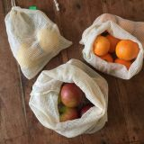 3x Produce Shopping Bags, Mesh Vegtable Bags, Eco Shopping Drawstring bag
