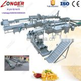 Commercial Fully Automatic Factory Price French Fries Maker Potatoes Frying Production Line Sweet Potato Chips Making Machine