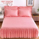 Solid Cotton Single Double Bed Mattress Cover bed skirt Petticoat Bed Bedspread bedding set