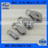 High quality stainless steel rope swivel pulley block with single or double wheel for sale