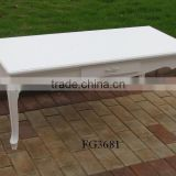 white painted wooden coffee table 2 drawers / wooden white indoor furniture / wooden tea table / wooden end table