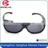 Matt black fit over glasses shatterproof anti uv safety goggles for prescription sunglasses