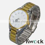 Men's Quartz Diver White Silver Gold Steel Bracelet Watch